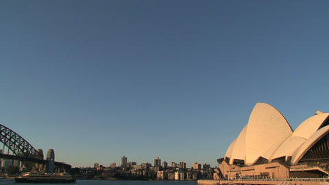 Sydney Harbour Bridge and the Opera House Stock Video Footage