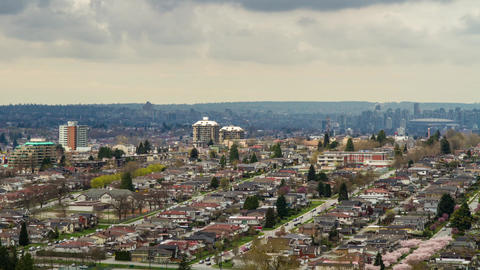 Cloudy day over residential area in Burnaby, BC Stock Video Footage