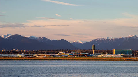 Time Lapse Sunset times at YVR Airport Stock Video Footage