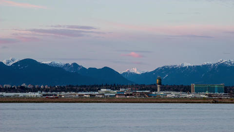 Time Lapse Sunset times at YVR Airport Footage