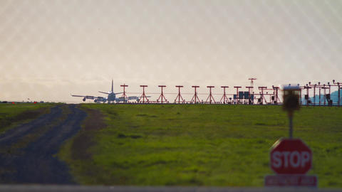Airplanes arriving at the Airport Stock Video Footage