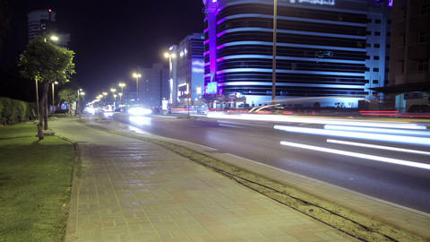 Dubai Street At Night Time Lapse Stock Video Footage