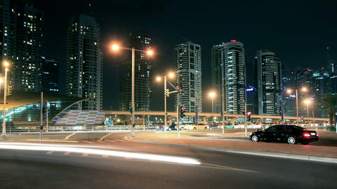 Night Streets Of Dubai Marina Time Lapse Stock Video Footage
