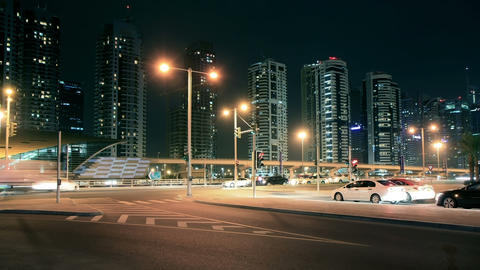Night Streets Of Dubai Marina Time Lapse Footage