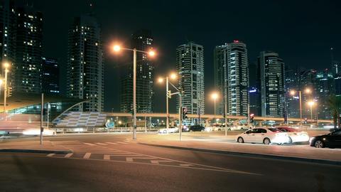 Night Streets Of Dubai Marina Time Lapse Stock Video Footage