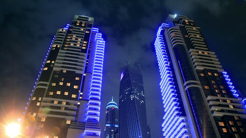 Skyscrapers Of Dubai Marina At Night Time Lapse Stock Video Footage