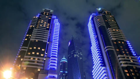 Skyscrapers Of Dubai Marina At Night Time Lapse Footage
