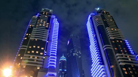Skyscrapers Of Dubai Marina At Night Time Lapse Stock Video Footage