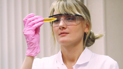 Woman In Laboratory  stock footage