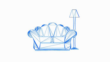 Rotation of 3D Sofa and Table... Stock Video Footage