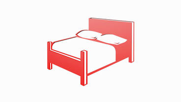 Rotation Of 3D Bed.interior,design,furniture,room,bedroom,home,comfort,pillow,apartment stock footage