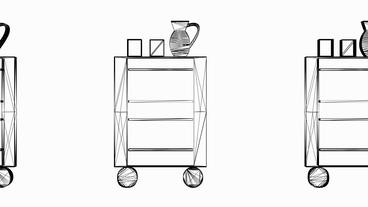 Moving of Table Cabinet.home,interior,modern,furniture,living,room,Grid,mesh,ske Animation