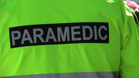 Paramedic-Green Jacket stock footage