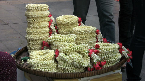 Selling Flower Garlands On The Street Stock Video Footage