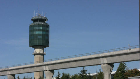 Sky Train And Airport Tower Stock Video Footage