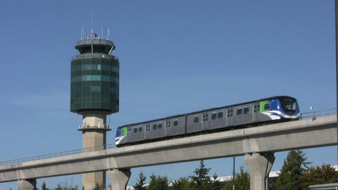 Sky Train And Airport Tower Footage