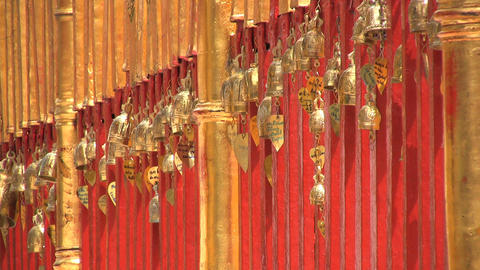Small Gold Temple Bells stock footage