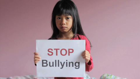 Stop Bullying Sad Little Girl Stock Video Footage