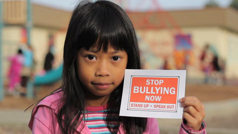 Stop Bullying Now Message Close Up Footage