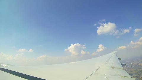 Moving clouds, airplain in the sky Stock Video Footage