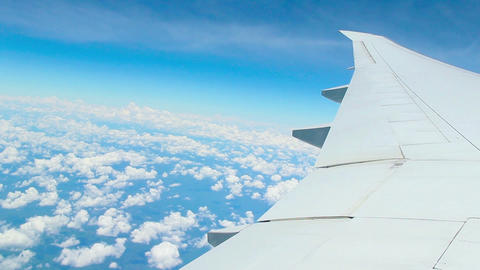 Moving Clouds, Airplain In The Sky stock footage