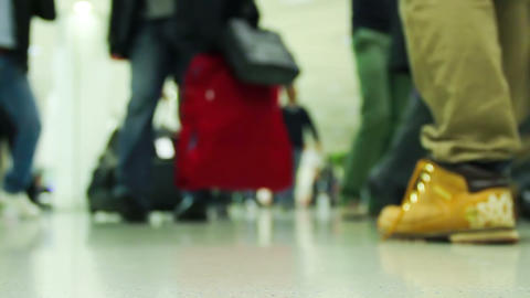 Crowd Of People At The Airport stock footage