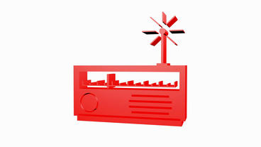 Rotation of 3D Radio.stock,photography,photos,agency,digital,old,music Animation