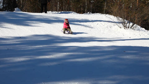 Child sledding Stock Video Footage
