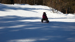 Child Sledding stock footage