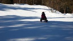 Child sledding Stock Video Footage