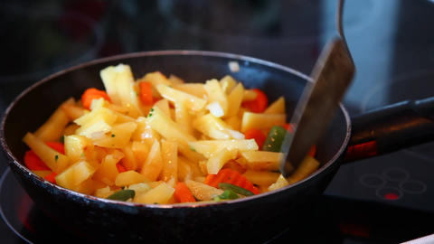 Potatoes and pan Stock Video Footage