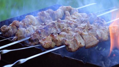 Shish Kebabs On Skewers Stock Video Footage