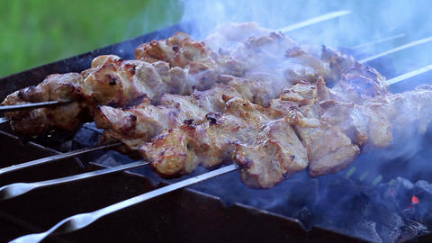 Shish Kebabs On Skewers Footage