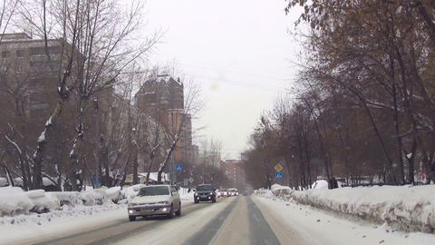 Typical street in Novosibirsk Footage