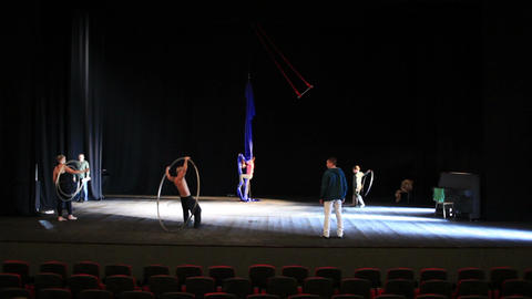 The actors are rehearsing onstage Stock Video Footage