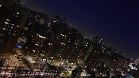 Night city time lapse. Diagonal composition Stock Video Footage