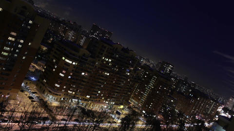 Night city time lapse. Diagonal composition Footage