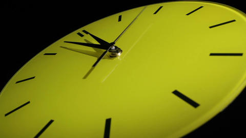 Yellow clock. Slow time lapse Stock Video Footage