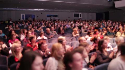 Defocused people applaud after the premiere Stock Video Footage
