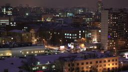 City time lapse at night. Wide shot, high angle Footage