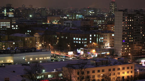 City time lapse at night. Wide shot, high angle Stock Video Footage