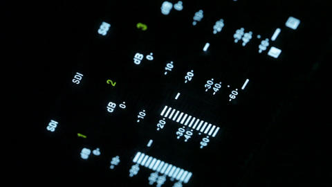 Macro shot of the equalizer display of the professional... Stock Video Footage