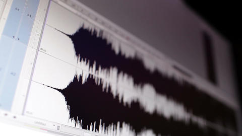 Timeline window with black sound waveform in the film... Stock Video Footage