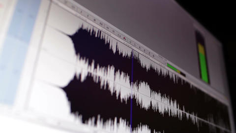 Timeline Window With Black Sound Waveform In The Film Editing Soft stock footage