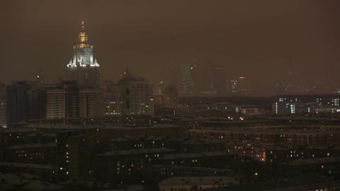 Main Building Of Moscow State University At Night Winter In Moscow, Russia, View Through Window stock footage