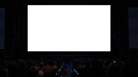 Viewers in the cinema house. Variant III. Screen size was 60 percent scaled from hd Footage