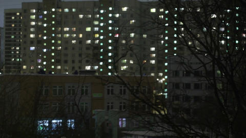 Windows of night house. Time lapse Stock Video Footage