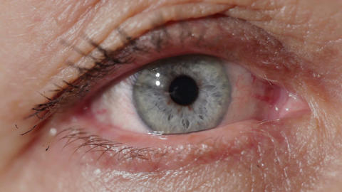 Blue eye of a middle-aged woman. Macro shot Live Action