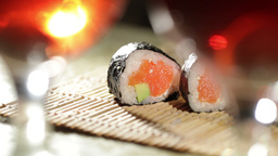 Sushi rolls and plum wine Stock Video Footage