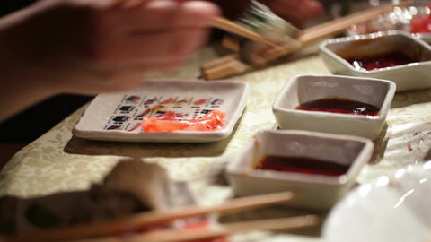 Eating sushi at home. Close up detail Stock Video Footage